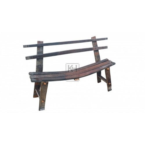 Barrel stave bench with back