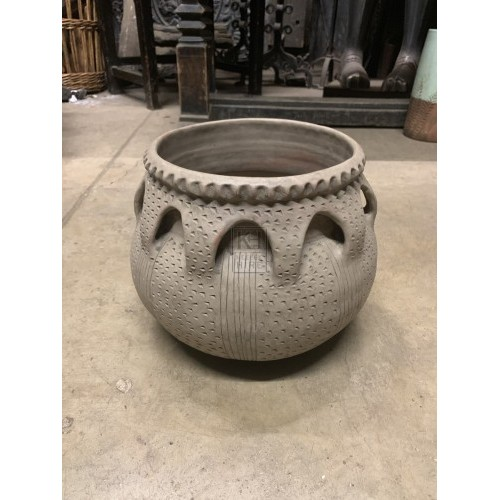 Grey Clay Urn with Decorative Handles