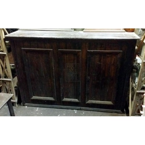 Dark wood shop counter unit