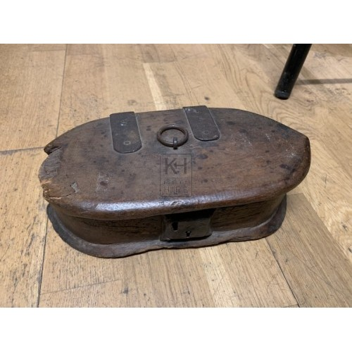 Shaped Wooden Box with Ring Handle