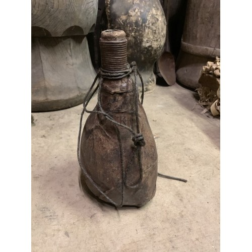 Wooden Water Bottle with Leather Bind