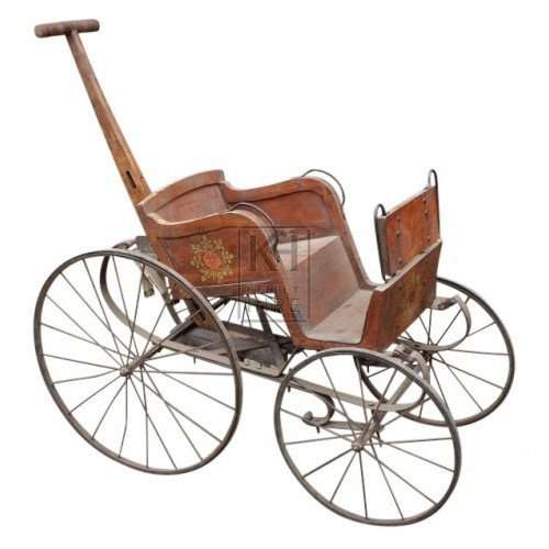 Period painted wood pushchair