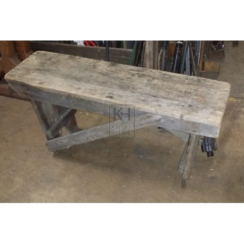 Short rough wood bench