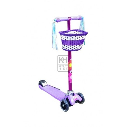 3-wheel childs purple scooter & basket
