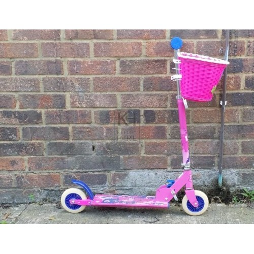 Pink girls scooter with basket
