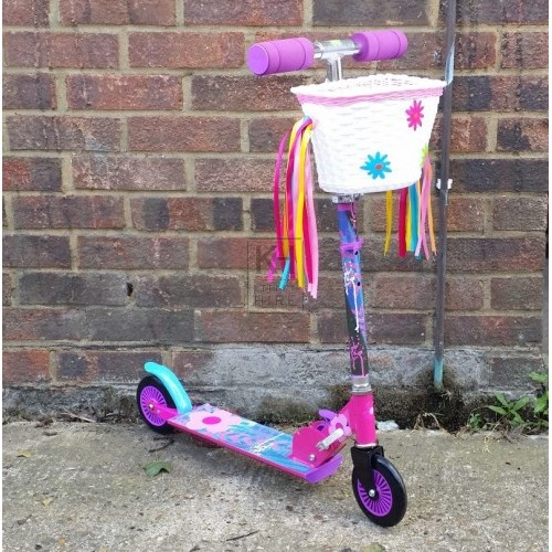 Pink scooter with basket & tassles