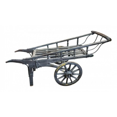 Dark painted 2-wheel coster barrow