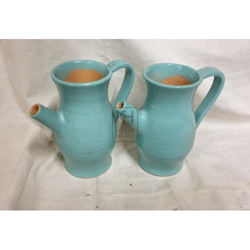 Blue pottery jug with spout