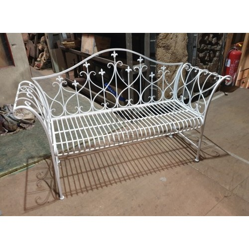Ornate metal bench with back