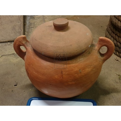 Bulbous earthenware pot with lid