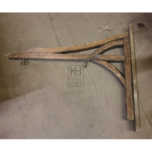 Wood sign bracket with hooks