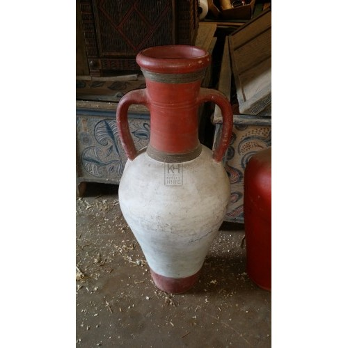Large Red and White Ceramic Urn