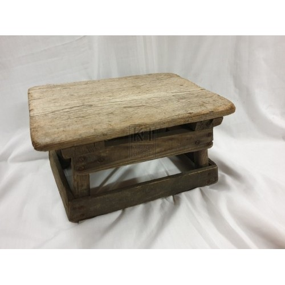 Low plain wood stool