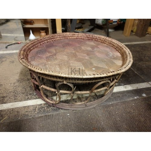 Woven cane plate on stand