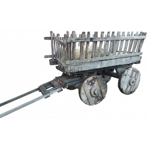 Slatted handcart with solid iron wheels