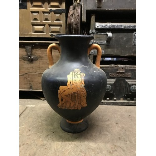 Black Shaped Urn with Grecian Design