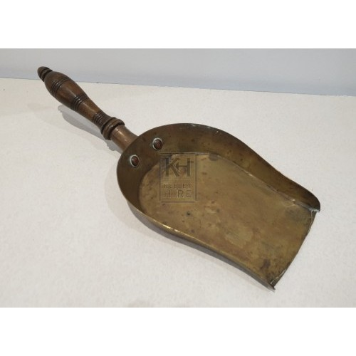 Brass and wood scoop