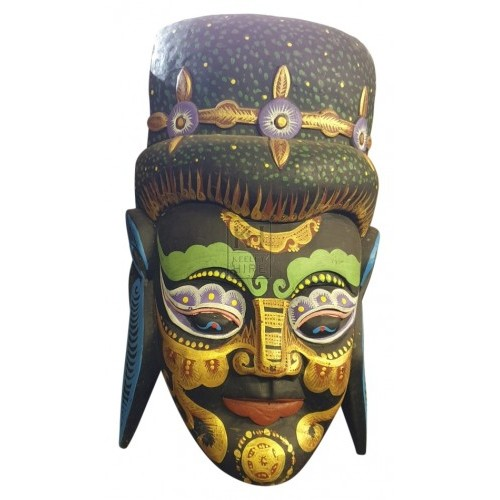 Dark painted carved wood mask