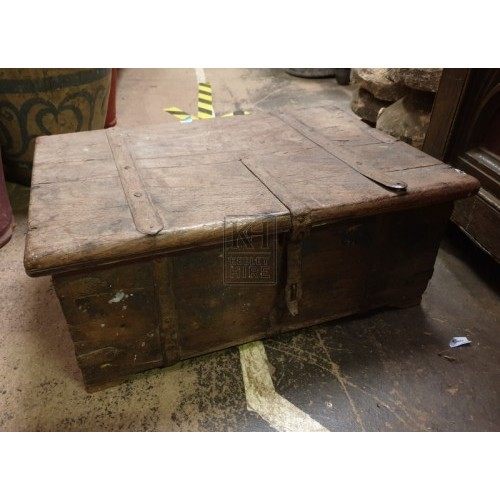 Medium flat wood chest with iron work