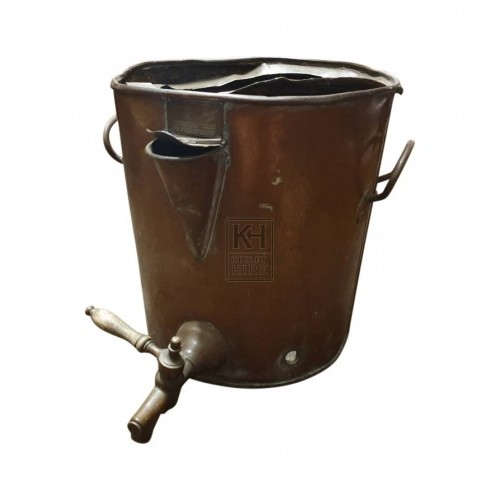 Aged copper water urn with tap
