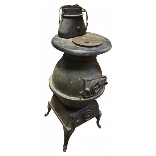 Large iron pot belly stove