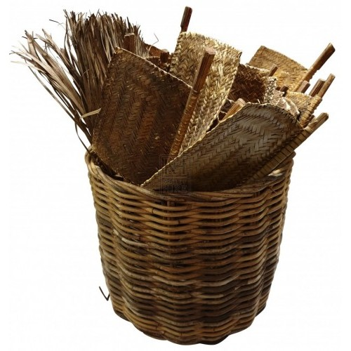 Basket of rattan fans