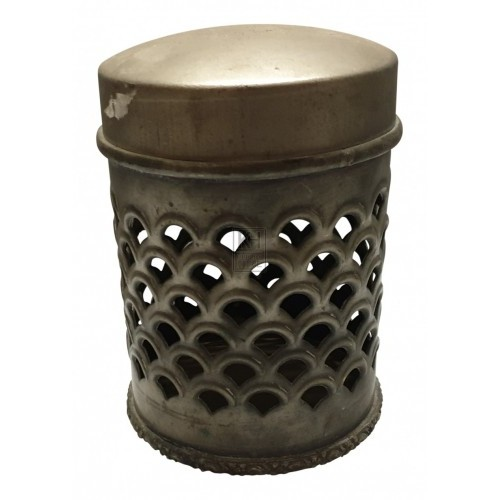 Ornate metal pot with lid
