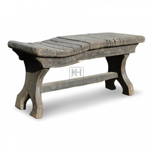 Shaped Saddle End Oak Bench