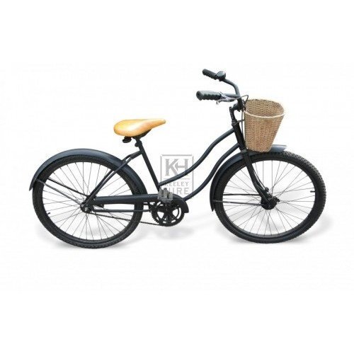 Black Ladies Bicycle with Wicker Basket