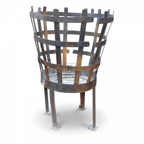 Large Iron Brazier With Tall Legs