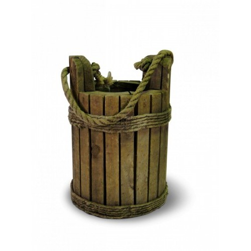 Slatted Wood Bucket with Rope Handle