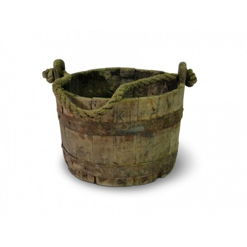 Iron Bound Bucket with Rope Handle #2