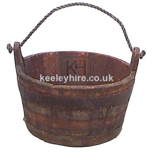 Iron Bound Bucket with Rope Handle