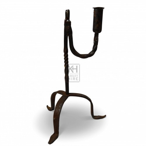 U Shaped Iron Arm Candleholder