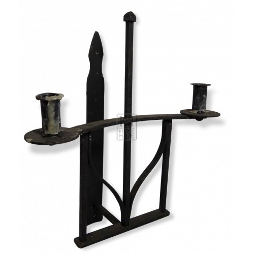 Double Iron Wall Candleholder