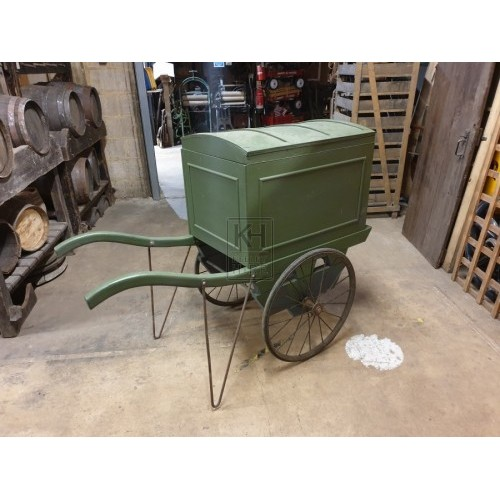 Green Hand Cart With 2 Metal Wheels