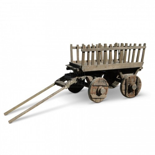 Slatted hand cart with 4 solid wheels