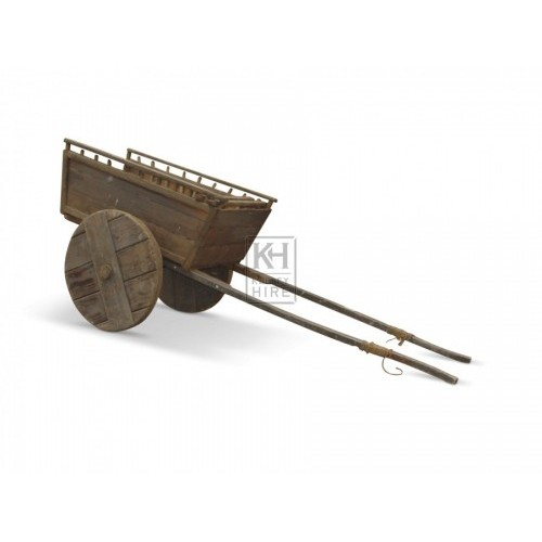 Medieval horse cart with 2 solid wheels