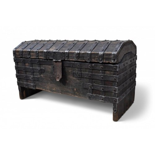 Dark Wooden Coffer Chest with Iron Bands