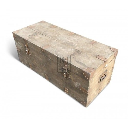 Plain Wood Chest with Metal Braces