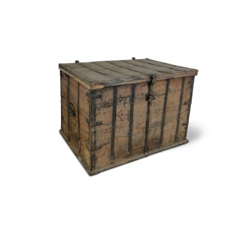 Flat Topped Wooden Chest
