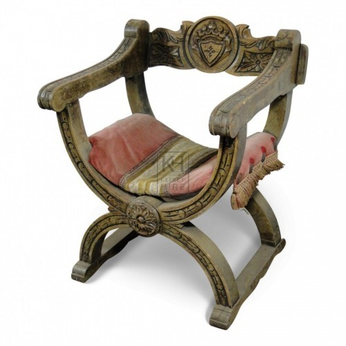 Carved Arm Chair With Cushion