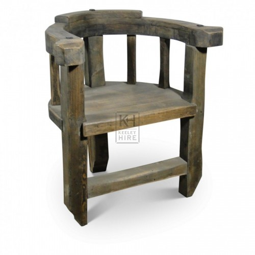 Horseshoe Shape Wood Arm Chair