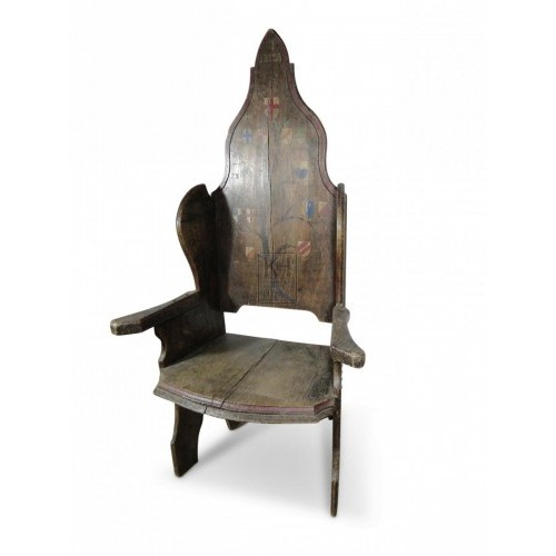 Pointed Oak Throne Chair