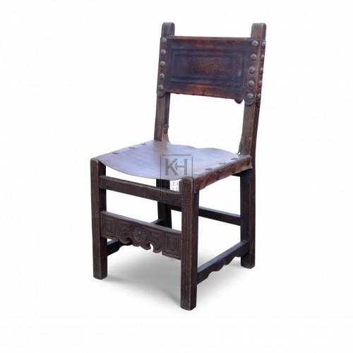 Carved Wood Chair with Leather Seat