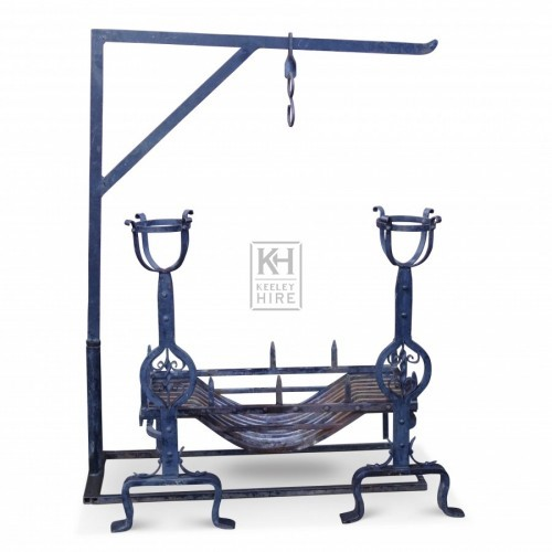 Iron Chimney Crane & Grate Set