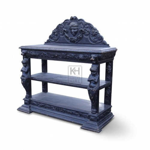 Side Table with Carved Decorations