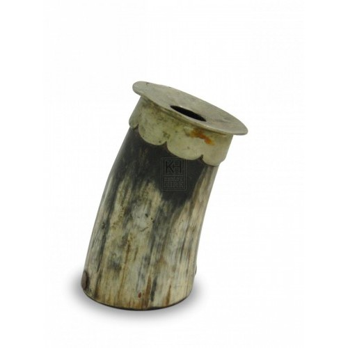 Small Silver & Horn Inkwell