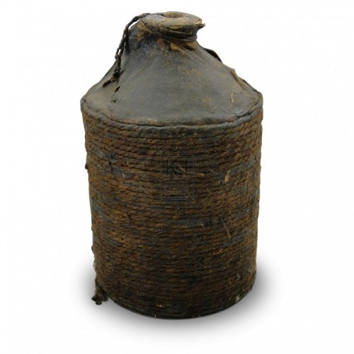 Leather Wrapped Earthenware Bottle