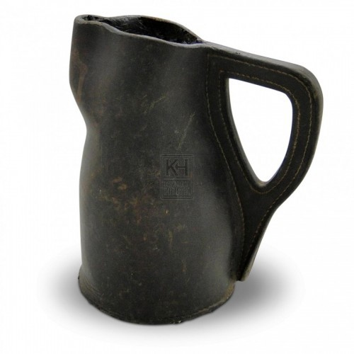 Black Curved Leather Jug